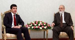 Ministerpräsident Kurdistan Nêçirvan Barzanî (links), Mîr Thasin Beg (rechts) (by AKNews)